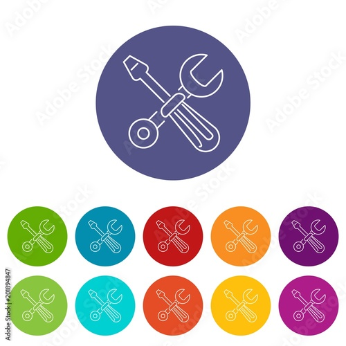 Screwdriver and wrench icons color set vector for any web design on white background