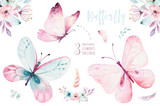 Watercolor colorful butterflies, isolated on white background. blue, yellow, pink and red butterfly illustration. - 201897873