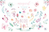 Hand drawing isolated boho watercolor blossom floral illustration with leaves, branches, flower. Bohemian greenery flowers and butterfly. Elements for greeting wedding card. - 201898089