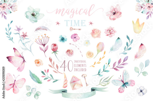 Hand drawing isolated boho watercolor blossom floral illustration with leaves, branches, flower. Bohemian greenery flowers and butterfly. Elements for greeting wedding card.