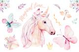 Isolated cute watercolor unicorn clipart with flowers. Nursery unicorns illustration. Princess rainbow poster. Trendy pink cartoon pony horse. - 201898292