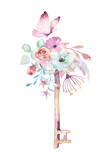 Isolated cute watercolor unicorn keys clipart with flowers. Nursery unicorns key illustration. Princess rainbow poster. pink magical poster - 201898871