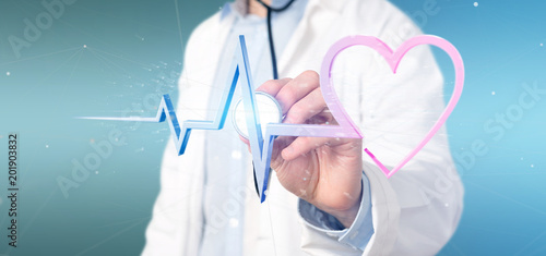 Foto Murales Doctor holding a 3d rendering medical heart curve