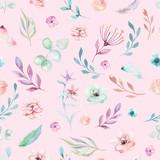 Cute watercolor unicorn seamless pattern with flowers. Nursery magic unicorn patterns. Princess rainbow texture. Trendy pink cartoon pony horse. - 201905454
