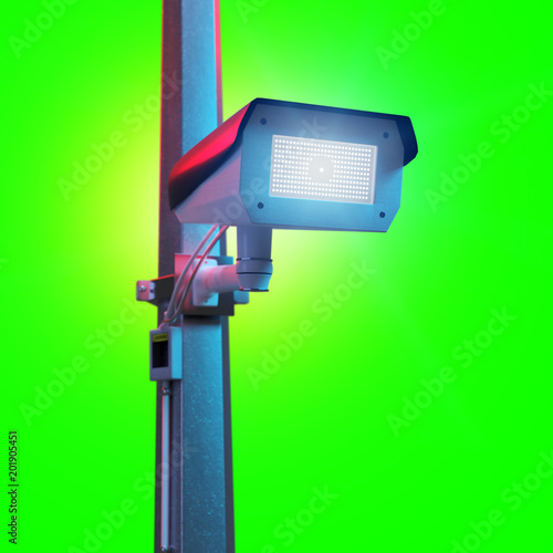 Street security cctv camera isolated on a green screen - 3d rendering - 201905451