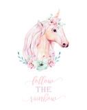 Isolated cute watercolor unicorn clipart with flowers. Nursery unicorns illustration. Princess rainbow poster. Trendy pink cartoon pony horse. - 201906050