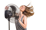 Young woman with cooler fan - 201907456