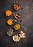 Traditional Indian spices on rusty background - 201908053