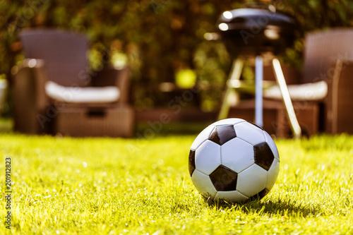 canvas print picture Fussball im Grass