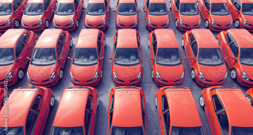 Aerial view on parked cars for sale on a lot 3D Rendering