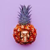 Mini Pineapple with Skull Minimal flat lay art - 201917694