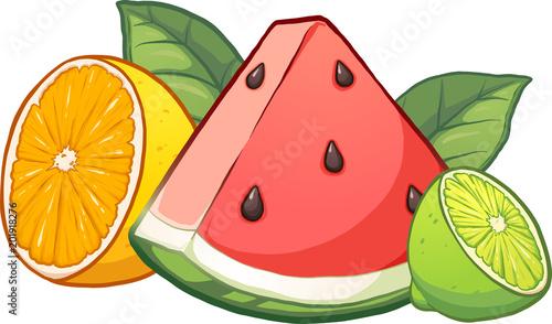 Owoce tropikalne kreskówki. Wektor clipart ilustracja z prostych gradientów. Każdy owoc na osobnej warstwie.