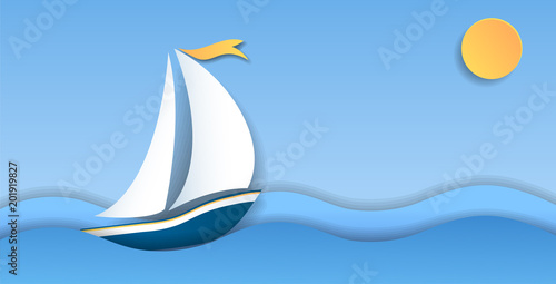 Sailboat on sea waves.