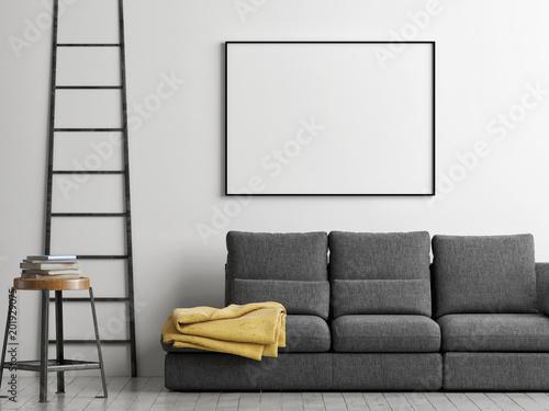 Leinwandbild Motiv Frame on the wall, mock up poster, 3d illustration, 3d render