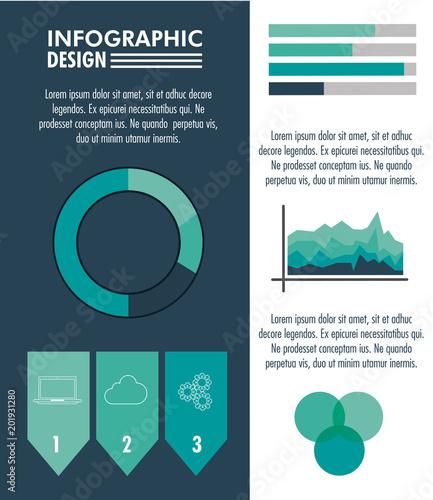 Infographic technologii projekt na błękitnym i białym kolorze wektorowym ilustracyjnym graficznym projekcie