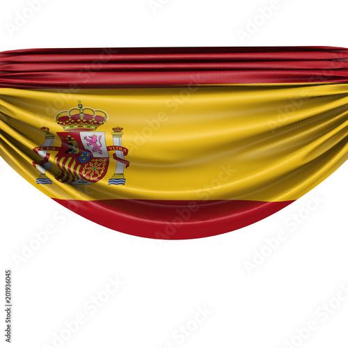 Spain national flag hanging fabric banner. 3D Rendering