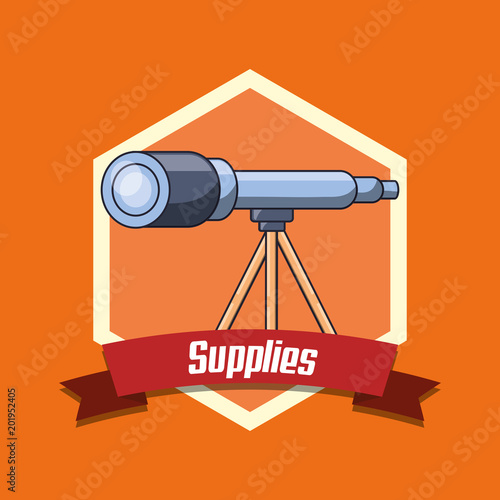 school supplies emblem with telescope icon over orange background, colorful design. vector illustration