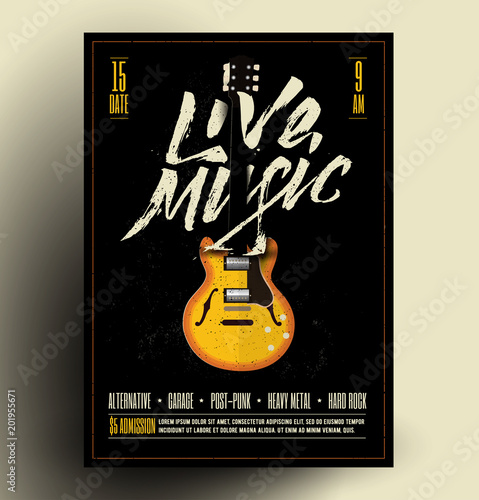 Aluminium Vintage Poster Vintage Styled Retro Live Rock Music Party or Event Poster, Flyer, Banner. Vector Template. Vector Illustration.