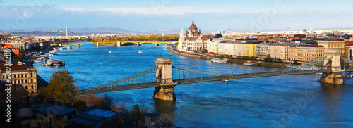 Canvas Boedapest Panorama with Chain Bridge and Parliament of Budapest