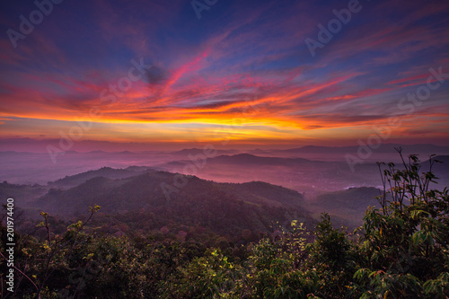 Foto Spatwand Crimson Hatyai city top view on Kor Hong mountain, Songkhla Province Thailand