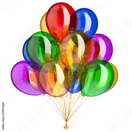 Birthday balloons bunch happy party balloon decoration colorful different multicolored. 3d illustration