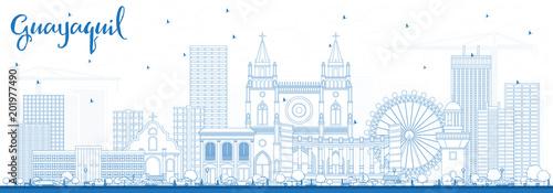 Zarys Guayaquil Ekwador City Skyline z Blue budynków.
