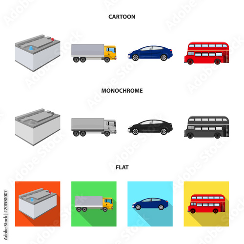 Battery and transport cartoon,flat,monochrome icons in set collection for design.Car maintenance station vector symbol stock illustration web.