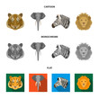 Tiger, lion, elephant, zebra, Realistic animals set collection icons in cartoon,flat,monochrome style vector symbol stock illustration web.