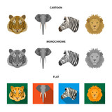 Tiger, lion, elephant, zebra, Realistic animals set collection icons in cartoon,flat,monochrome style vector symbol stock illustration web. - 201982432