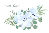 Floral card with hibiscus and eucalyptus. Wedding Invitation, save the date, rsvp, invite. Vector illustration. Celebration template. Watercolor style - 201985037