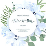 Floral bouquet with  greenery, hibiscus and eucalyptus branch. For wedding, Valentine's day, Birthday. Vector illustration. watercolor style - 201985091