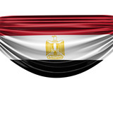 Egypt national flag hanging fabric banner. 3D Rendering - 201987053