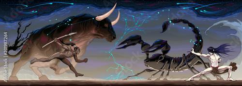 Plexiglas Kinderkamer Zodiacal battle between Taurus and Scorpio