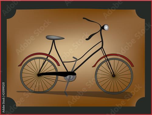 Canvas Vintage Poster vector. Old bike..