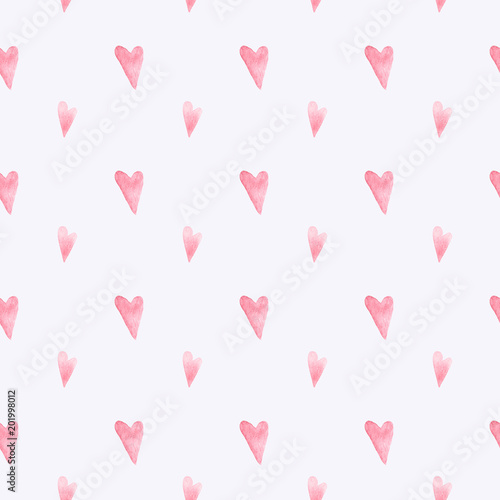 obraz lub plakat Seamless pattern with hand painted hearts. Valentine's Day. Colorful watercolor background for fabric, wallpapers, gift wrapping paper, scrapbooking.