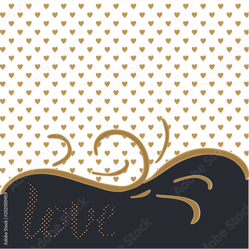 Canvas Positive Typography Love. Elegant background with golden love hearts and lettering