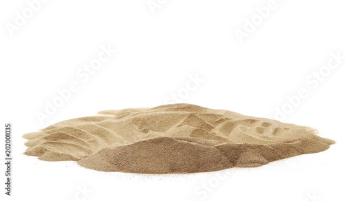 Pile desert sand dune isolated on white background