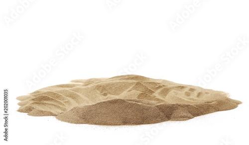 Fototapeta Pile desert sand dune isolated on white background