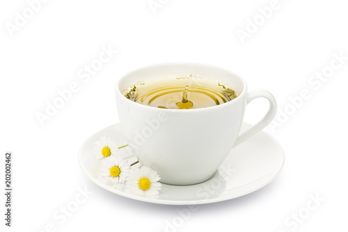 cup of chamomile with splashing drop and daisy on white background - 202002462