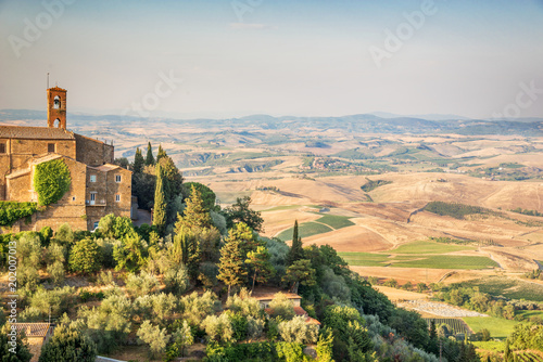 View of Montalcino, countryside landscape in the background, Tuscany, Italy