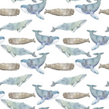 Watercolor illustration with whale. Seamless pattern with watercolor whales. - 202008876