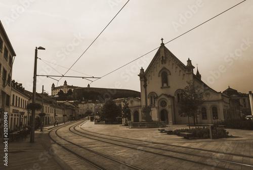 Plexiglas Spoorlijn Bratislava street Slovakia