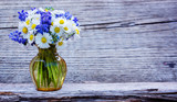 Daisies, forget-me-not and grape hyacinth - greeting card