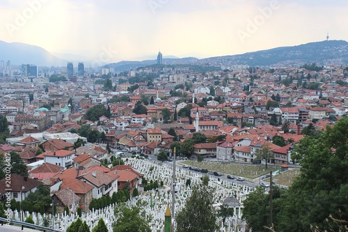 Foto Murales View over Sarajevo, Bosnia in August 2015