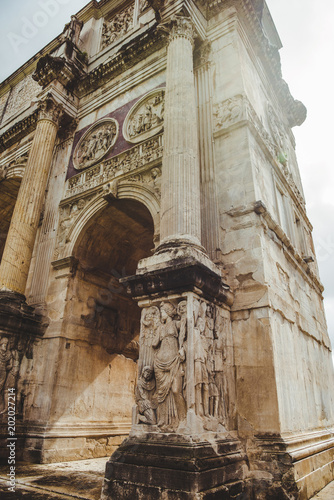 bottom view of beautiful Arch of Constantine, Rome, Italy - 202027214