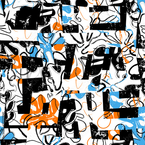 Fotobehang Abstract met Penseelstreken seamless background pattern, with trapeze, ornaments, paint strokes and splashes, retro style