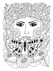 Vector illustration. Portrait of a girl among daisies and butterflies. Work done manually. Coloring book. Anti Stress for adults and children. Black and white.