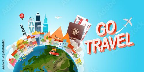 Sticker Travel concept vector illustration. Go travel concept