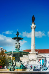 Lisbon, Portugal - February 11, 2018: The southern fountain in Lisbon, Portugal