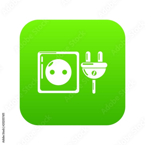 Electric outlet icon green vector isolated on white background